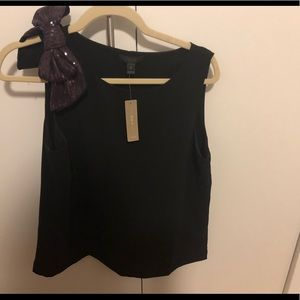 Jcrew black sleeveless top with purple bow - NwT